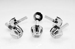 "WHITE ""ICED"" SCALLOP WINDSCREEN FAIRING SCREWS 6 PACK"
